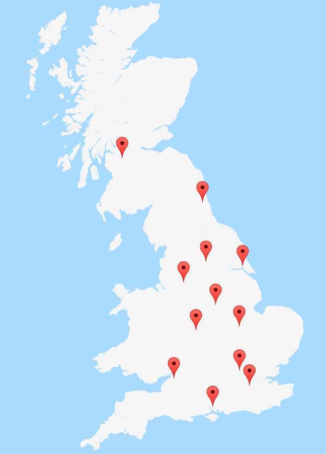 UK PAT Testing Course Venue Map